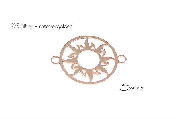 "Filigraner 925 Silber/rosevergoldeter Anhänger ""Sonne"" - 15mm mit Doppelöse."