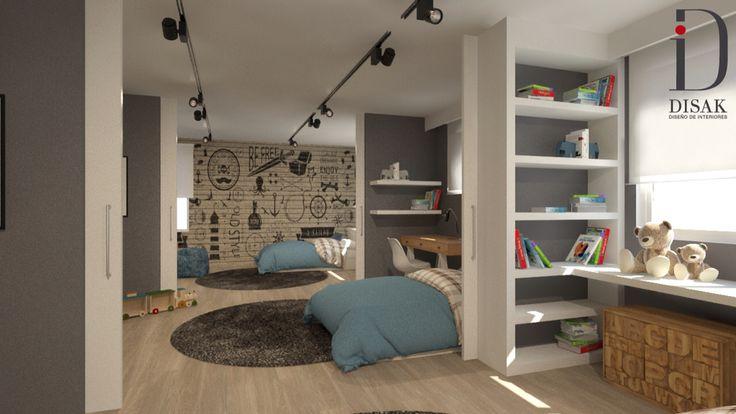 Habitaci n juvenil para 3 hermanos espacio diafano con for Habitacion ambiente familiar