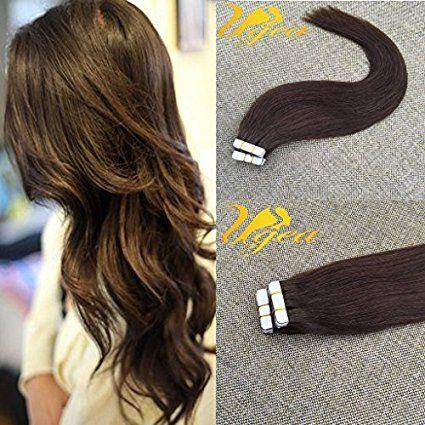 """Ugeat 14""""/35cm Glatt Remy Haar 4# Dunkelbraun Brasilianische Echthaar Tresse Tape in Extension PU Echt Haarverlangerung 20pcs 50ghttps://www.amazon.de/dp/B01MULGXTN?th=1"""