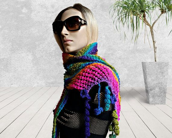 Hand knitted Rainbow Shawl, Handmade Stole, Hand knit Scarf, knitted Wrap Harlequin Scarves