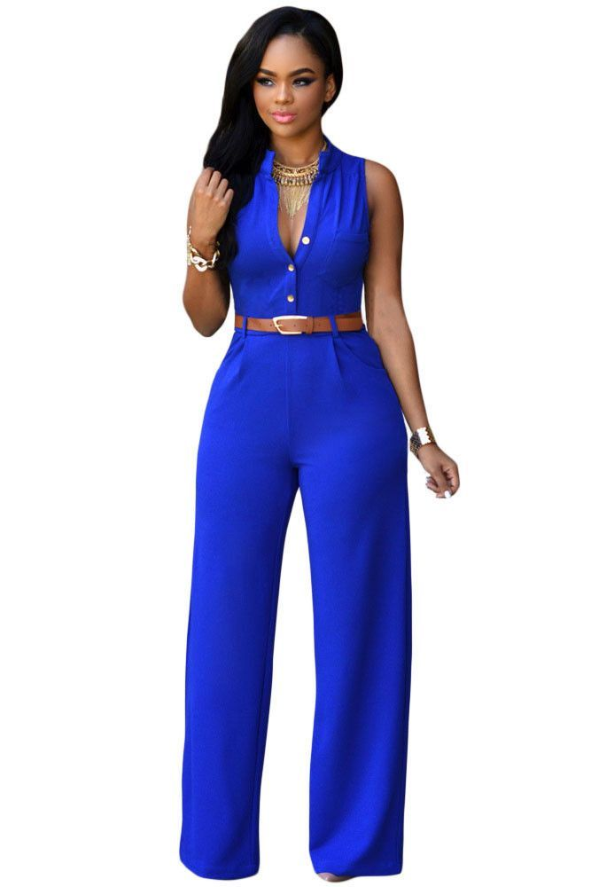 Feminine, chic and seriously flattering, this jumpsuit belongs in your day-to-night wardrobe. Styling modern sexy and relax fit, it has button front V neckline, chic standup collar, single chest pocke
