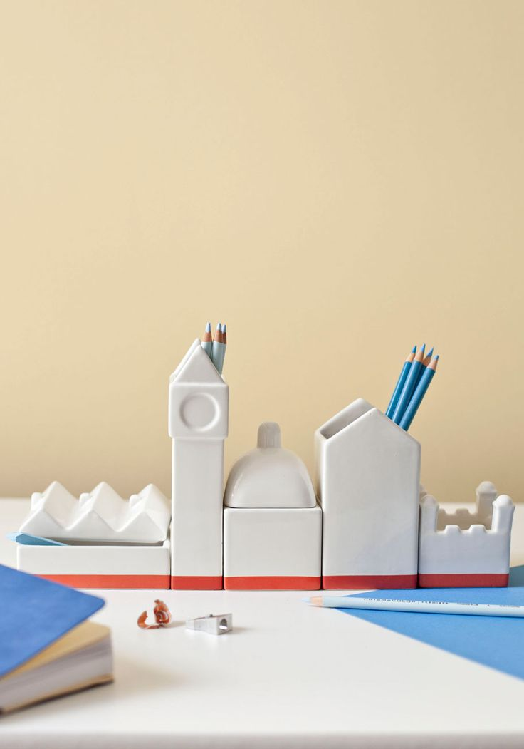 It's About Thames Desk Organizer Set. Your architectural model is flawless, the renderings are tidy, and the thesis is properly poignant, so, now, youre bringing your desk up to code with this polished, skyline-inspired set! #white #modcloth