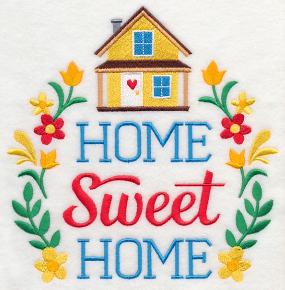 Home Sweet Home Wreath design (M5059) from www.Emblibrary.com
