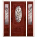 Feather River Doors 59.5 in.x81.625in.Silverdale Zinc 3/4 Oval Lt Stained Cherry Mahogany Rt-Hd Fiberglass Prehung Front Door w/ Sidelites, Mahogany Woodgrain: Cherry Finish