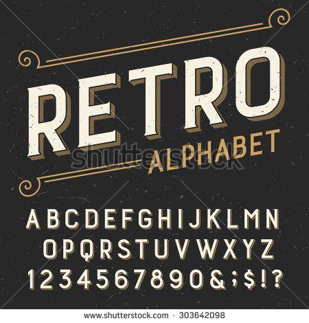 Retro alphabet vector font. Serif type letters, numbers ...