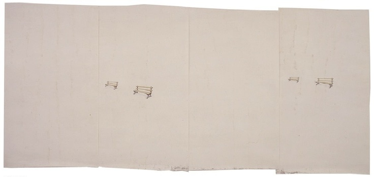 toba khedoori, untitled chairs, 1997, oil and wax on paper 11 1/4 x 30 feet