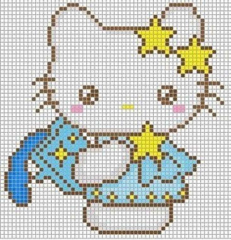 Punto de cruz  Hello Kitty: Diseños - Patrón Hello Kitty