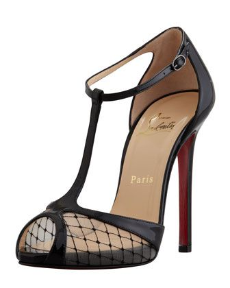 Christian Louboutin Lagoula Tstrap Fishnet Red Sole Pump in Black | Lyst