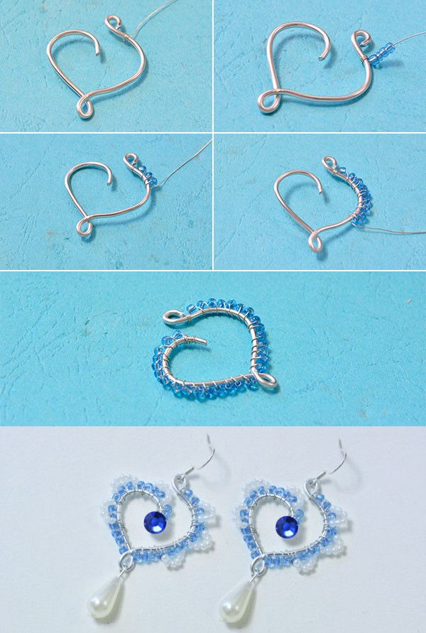 wire and beads heart earrings, like them? LC.Pandahall.com will publish the tutorial soon.