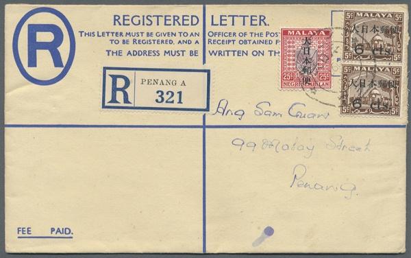 "Malaya, 1942, Perak, registration envelope 15 C. uprated s. l. kanji 6 C./5 C. (pair) and 25 C. canc. ""Penang 2603 9 3"" adressed local"