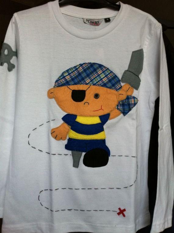 Camiseta pirata pata de palo / Pacharron de colores - Artesanio