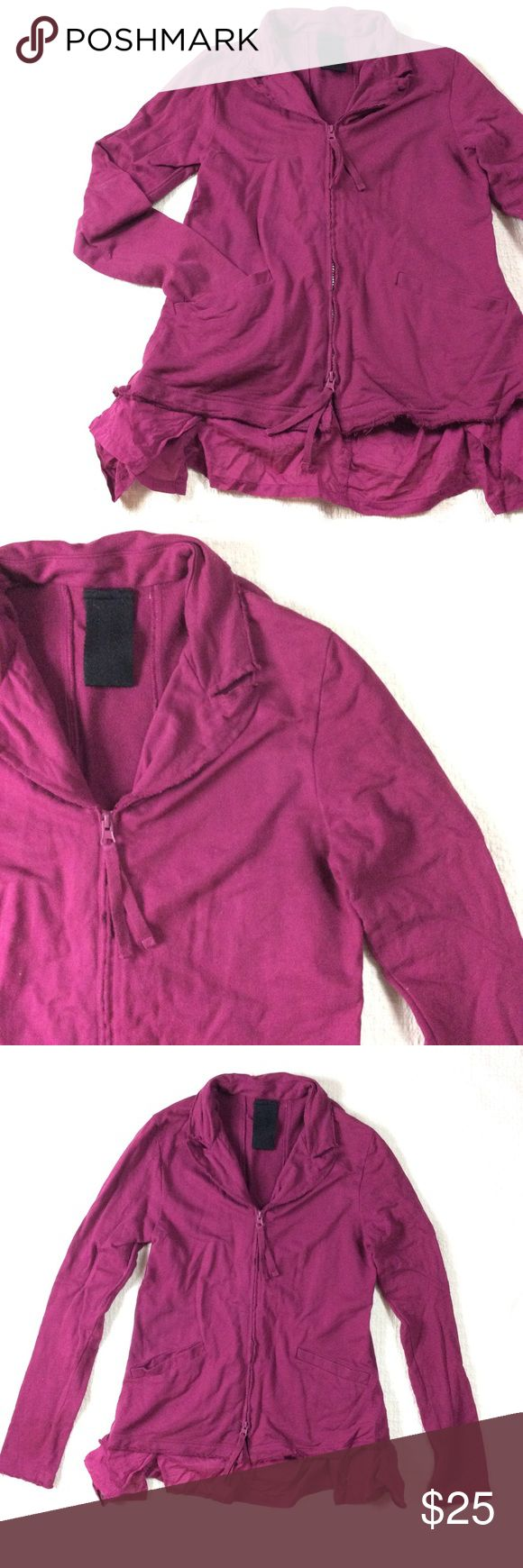 🆕LISTING Zip-Up Yoga Jacket Laidback zip-up jacket. Super cute with a bright or neutral pair of workout leggings. Sweatshirt material. Rough edging. Layered hem around back and sides adds extra detail. No size tag, but fits a size Small. In excellent used condition. Tops Sweatshirts & Hoodies