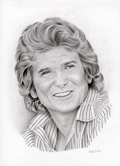 Michael Landon by rondawest {from USA} ~ pencil portrait