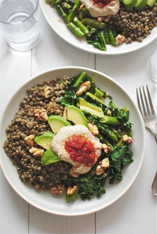 lentils w/ vegetables, avocado, walnuts + hummus via Bev Cooks