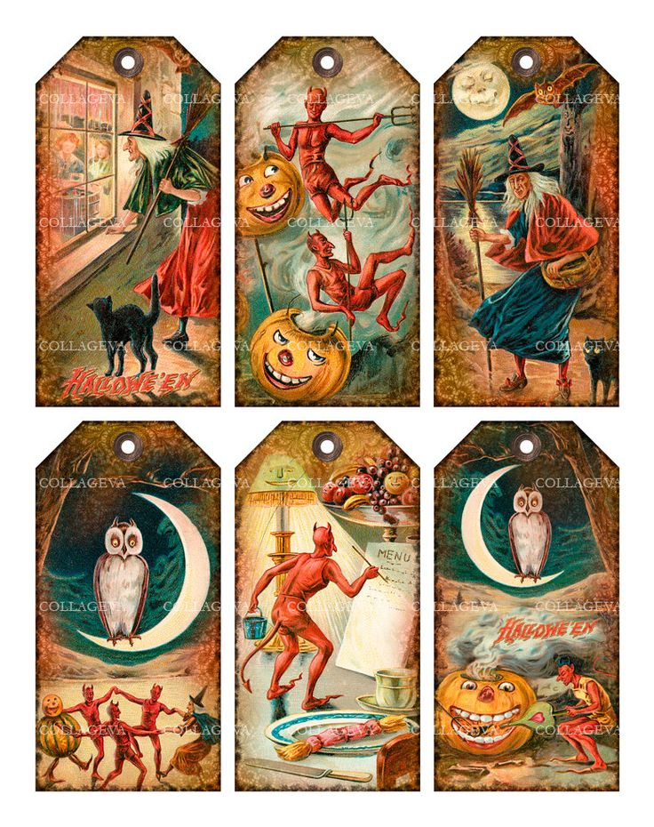 Halloween Devils Digital Tags, Vintage Ephemera, Printable Witch Pumpkin Images, Owl Crescent Moon, Gothic Grunge INSTANT DOWNLOAD (T024-t) by collageva on Etsy