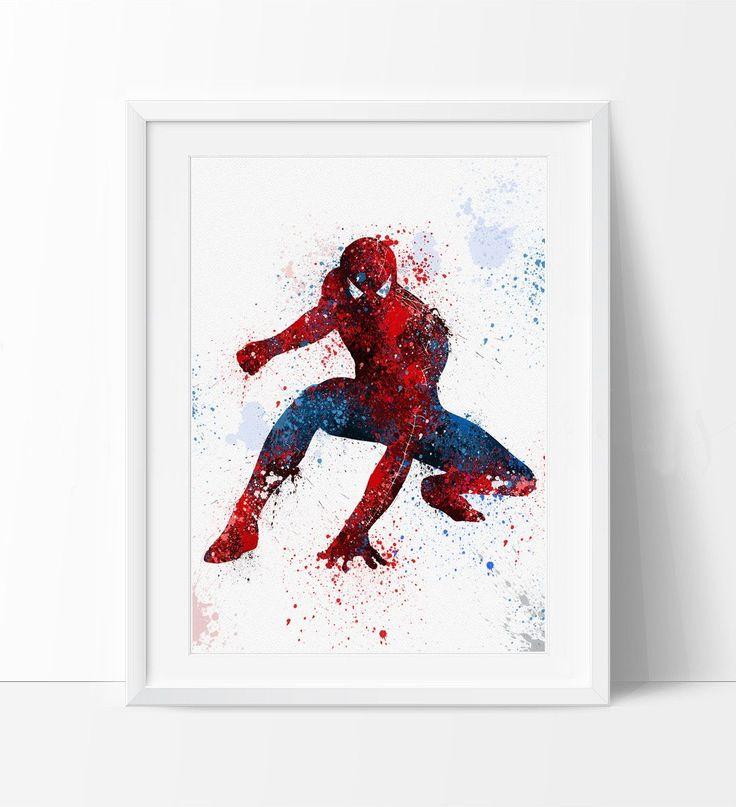 Spiderman Art Print, Watercolor Art, Superhero Wall Art, Spiderman Poster,Spiderman Birthday Poster Room Decor (62)
