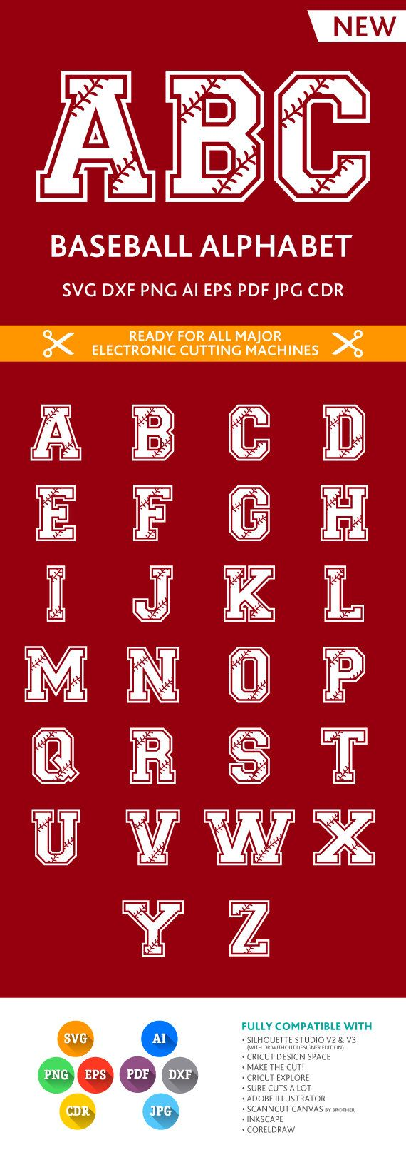 Softball / Baseball Letters SVG Stitches Alphabet Cut Files SVG DXF Eps Silhouette Studio Png Pdf Jpg Ai Cdr Silhouette Studio Cricut Cameo