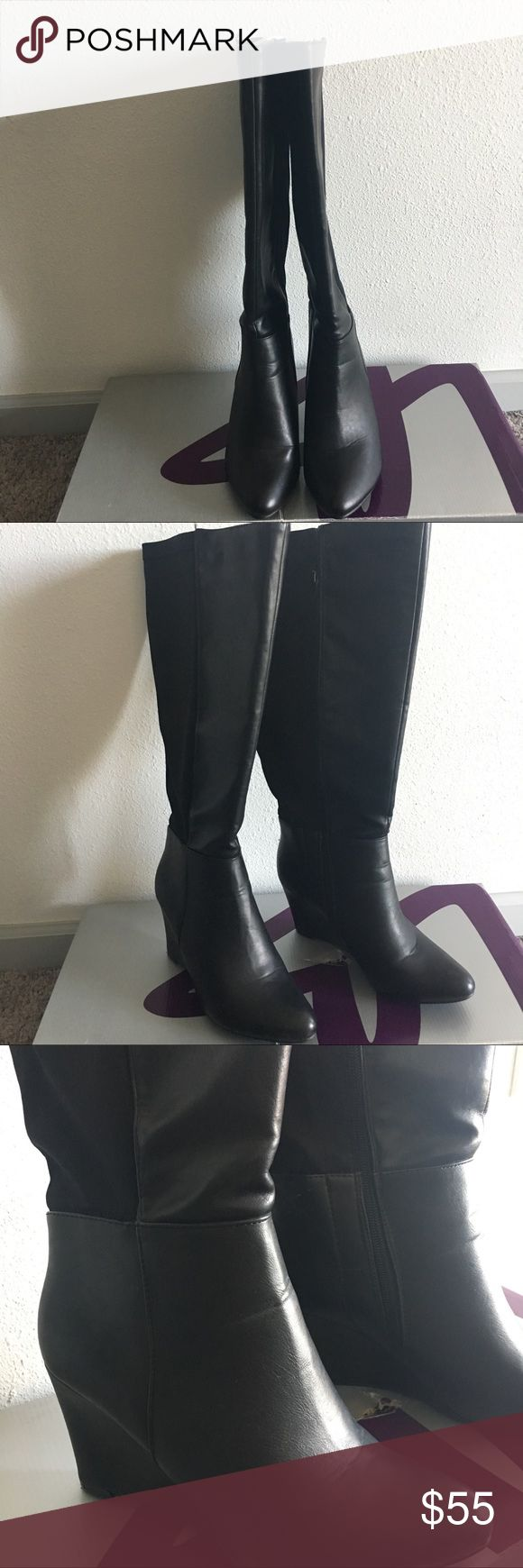Lane Bryant tall black boots heels size 9 Brand new. Small scuff as shown in pictures caused by moving. Size 9. Large calf Lane Bryant Shoes Heeled Boots