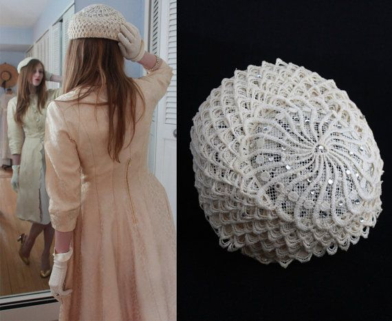Seashell Scalloped Lace FASCINATOR HAT Vintage by HarlowGirls, $28.00