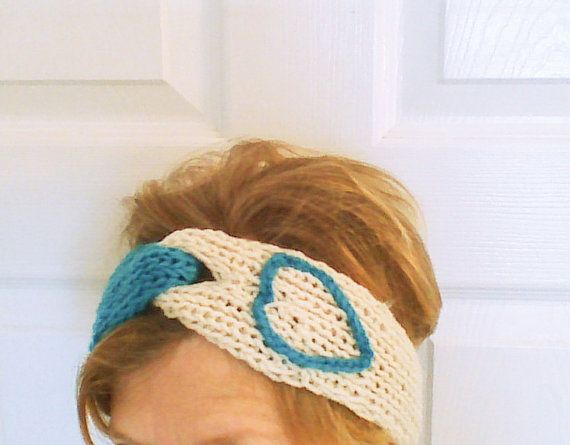 Turquoise white Hand Knit Headband/Taper twisted by HandmadeTrend, $16.00