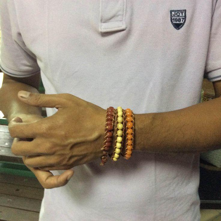 Leather beaded hand bracelet.