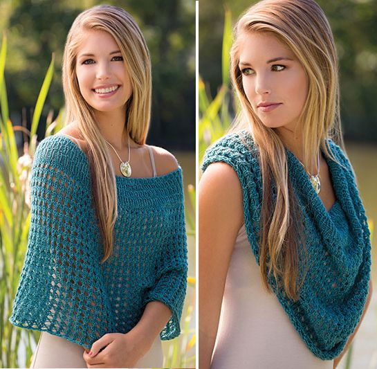 Knitting Pattern for Calypso Cowlet - This easy openwork design can be worn two ways — as a lovely, open capelet, or slouched up as a generous cowl.
