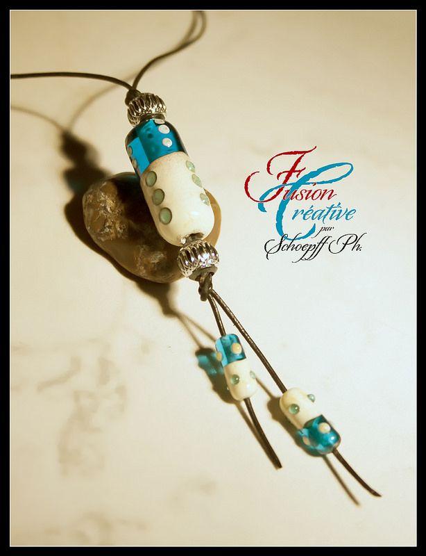 Collier Turquoise-Ivoire. Perles de verre de Murano. Fait Main.