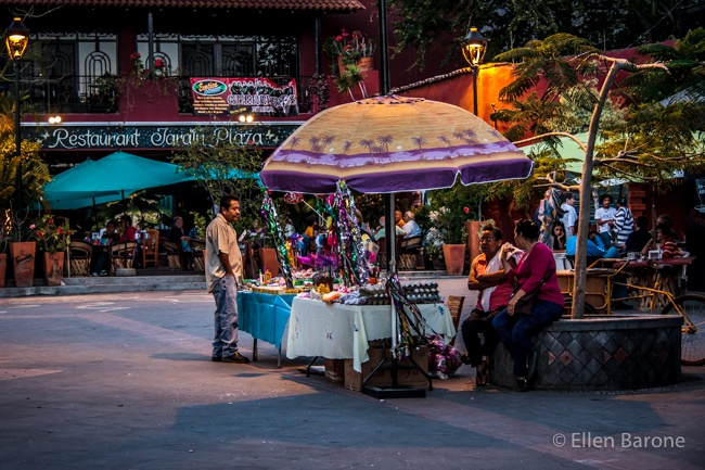 The Plaza at Night - Ajijic, Jalisco, Mexico - EllenBarone.com