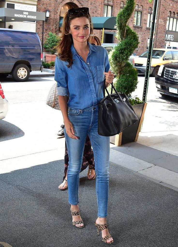 Dressed in head-to-toe 7 For All Mankind, Miranda nailed the Canadian Tuxedo. We're not sure what goes better with all-denim than a classic ...