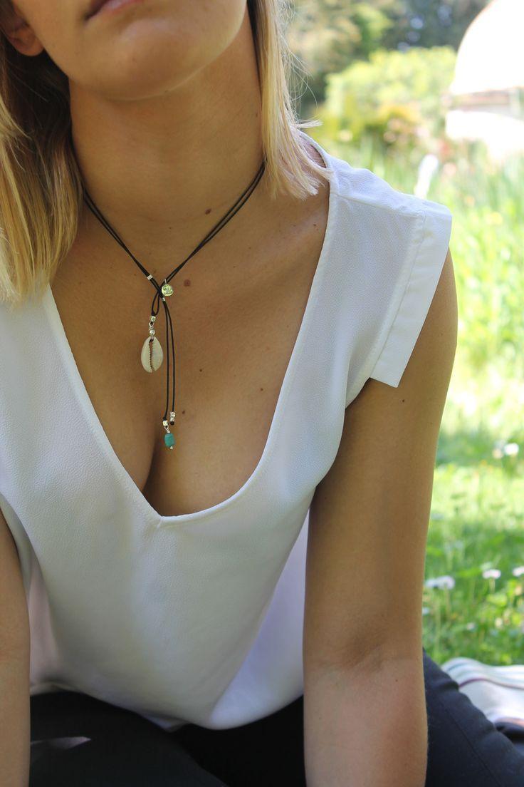 collier cordon coquillage et turquoise : Collier par majabel