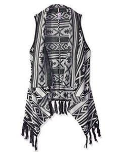 Kensie Girl Long Sweater Vest Aztec Jacquard Fringe
