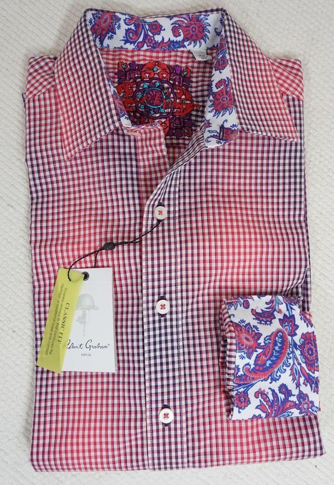 New Robert Graham Men's Casual Shirt #Ombre Checker #Paisley #Red/Purple X-Small #RobertGraham #ButtonFront