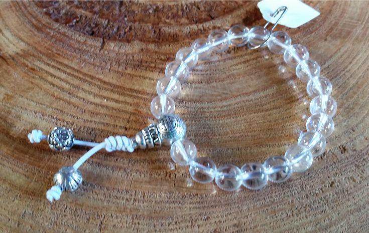 Cristal de Quartzo Natural - Mala de Mão 21 Contas - Rosário Budista