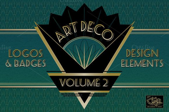 Art Deco Logos and Design Elements by Wing's Art and Design on Creative Market