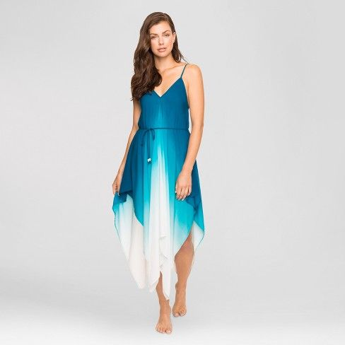 460b8e475 With a flowy silhouette, wispy skirt and beautifully dip-dyed color, you'll  look like a sea goddess emerging from the waves in the Ombre Cover-Up Dress  from ...