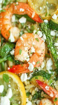 Shrimp, Asparagus and Zucchini Orzo Salad
