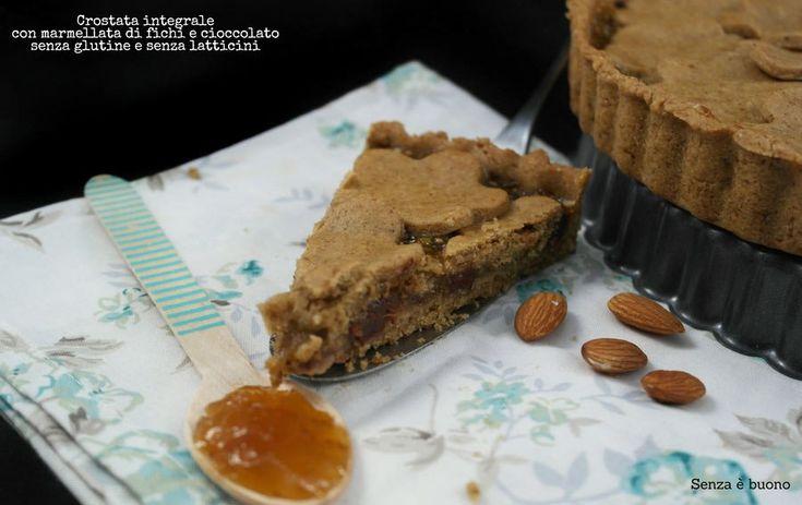 Crostata integrale con farine naturali #senzaglutine e #senzalatticini ripiena di marmellata di fichi e #cioccolato fondente