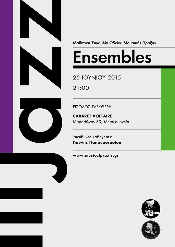 Jazz Ensembles June 2015 concert poster by Sofia Braila