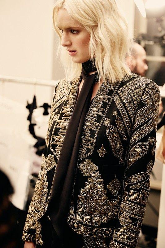 Jewel detailed blazer and black skinny scarf at Emilio Pucci AW14 MFW. More images at: http://www.dazeddigital.com/fashionweek/womenswear/aw14