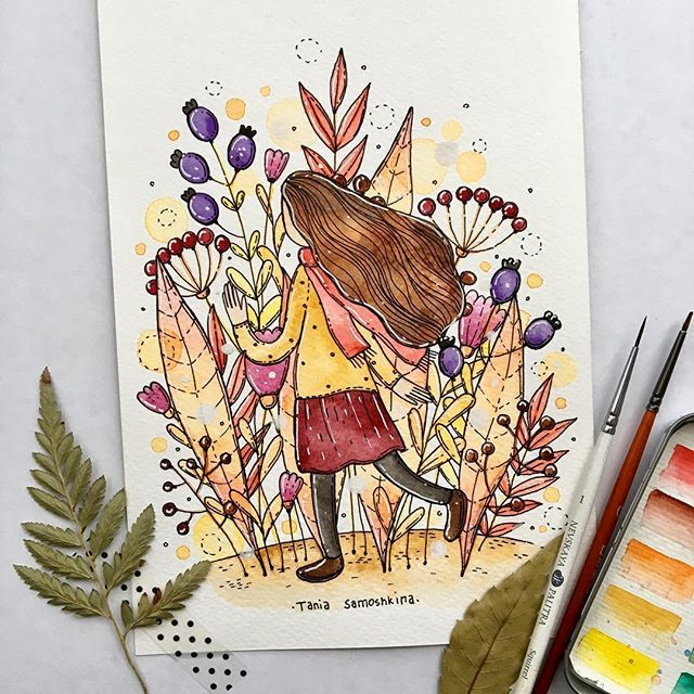 Garden adventure time 🌳 #tania_autumndraw #watercolor #illustration #picame #artistoninstagram #inspiration #drawing #painting #garden #artweinspire #adventure