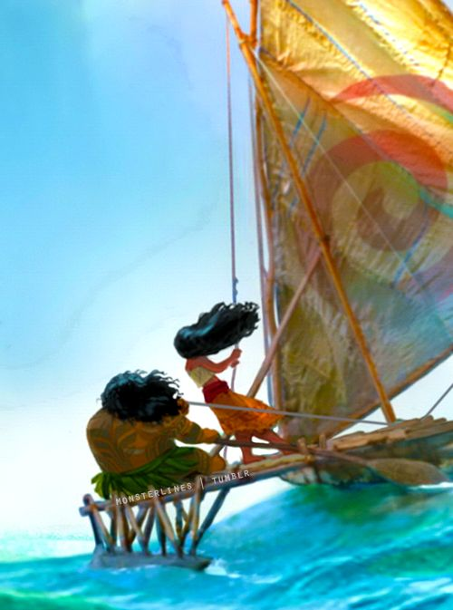 Close-up of Moana and Maui from concept art of Disney's Moana.