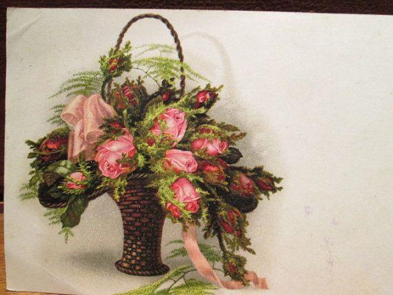 Vintage Postcard Victorian Basket Pink Roses by TableauBotanique