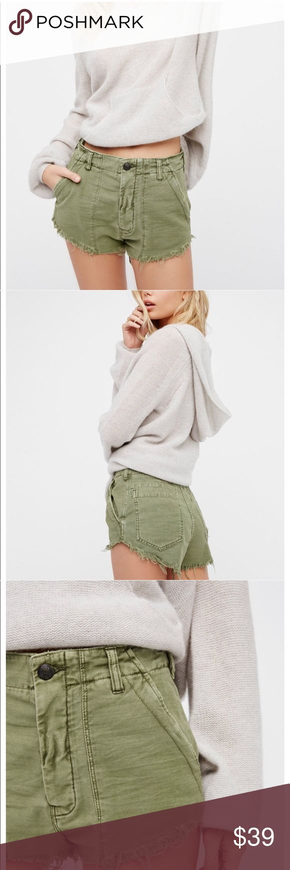 Free People High Waisted Cutoff Raw Army Shorts Free People High Waisted Cutoff Raw Shorts. Army/Moss Green color. Button fly, raw cut off edges. Super sexy fit! Never worn! From FP summer 2017. Size 0, fits true to size. Free People Shorts