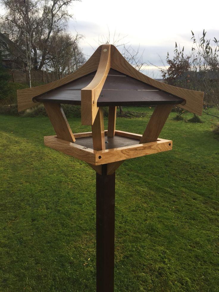 Oak framed bird table.
