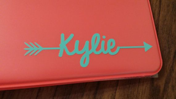 Name Decal with arrow Name sticker school by JPsDecalsandDesigns