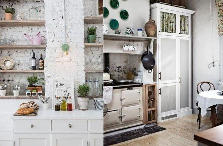 Белые кирпичные стены в интерьере кухни в деревенском стиле