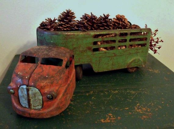 Vintage pressed metal Wyandotte truck and cattle trailer - 1940's - Primitive - Retro - Rustic - Farmhouse on Etsy, $68.00