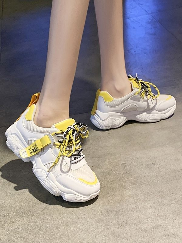 Mesh Trim Platform Dad Sneakers PINK