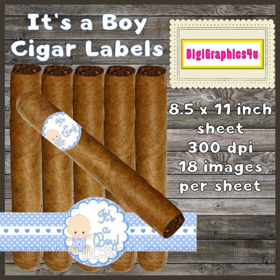 Ordinary Baby Shower Cigars Part - 6: Cigar Labels Baby Shower Printable Celebratory By DigiGraphics4u