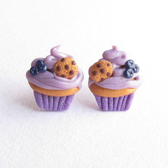 Purple Earrings, Lavender Blueberry Fruit Muffin Cupcake Earrings, Christmas Children Girls Gifts, Funny Miniature Food Earrings Jewelry
